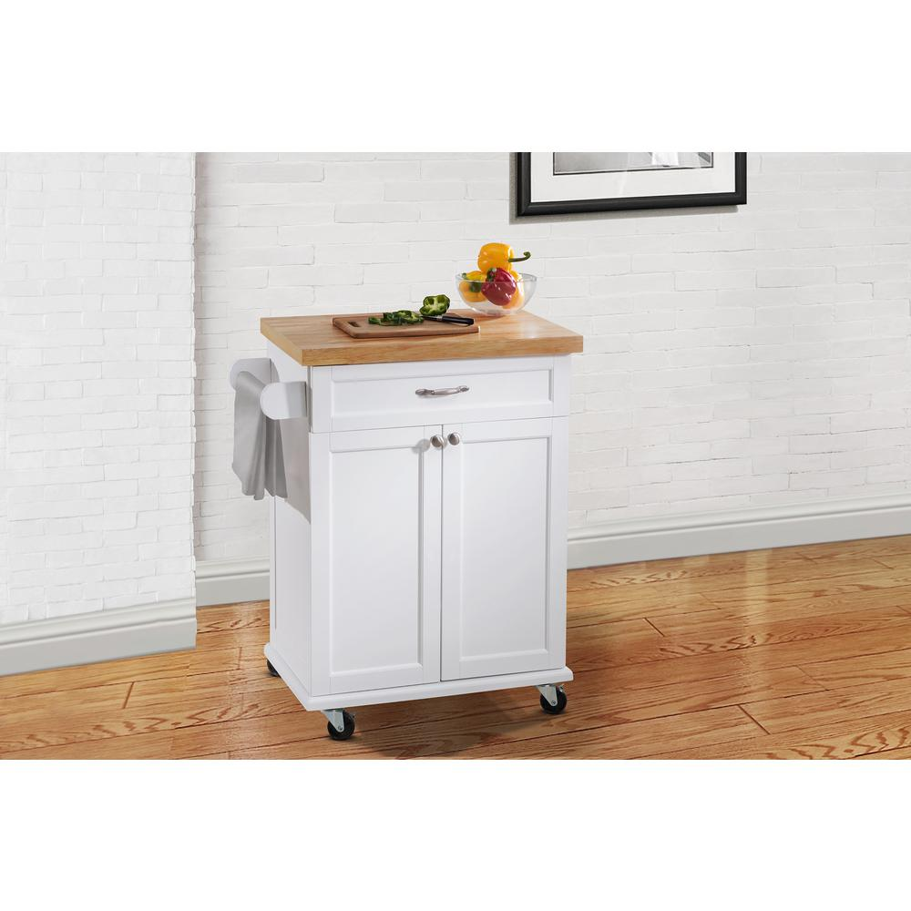 Hampton Bay Ashby White Kitchen Cart120306008W  The