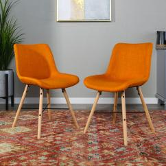 Orange Upholstered Chair Smitten Baby High Cover Walker Edison Furniture Company Linen Side Set Of 2