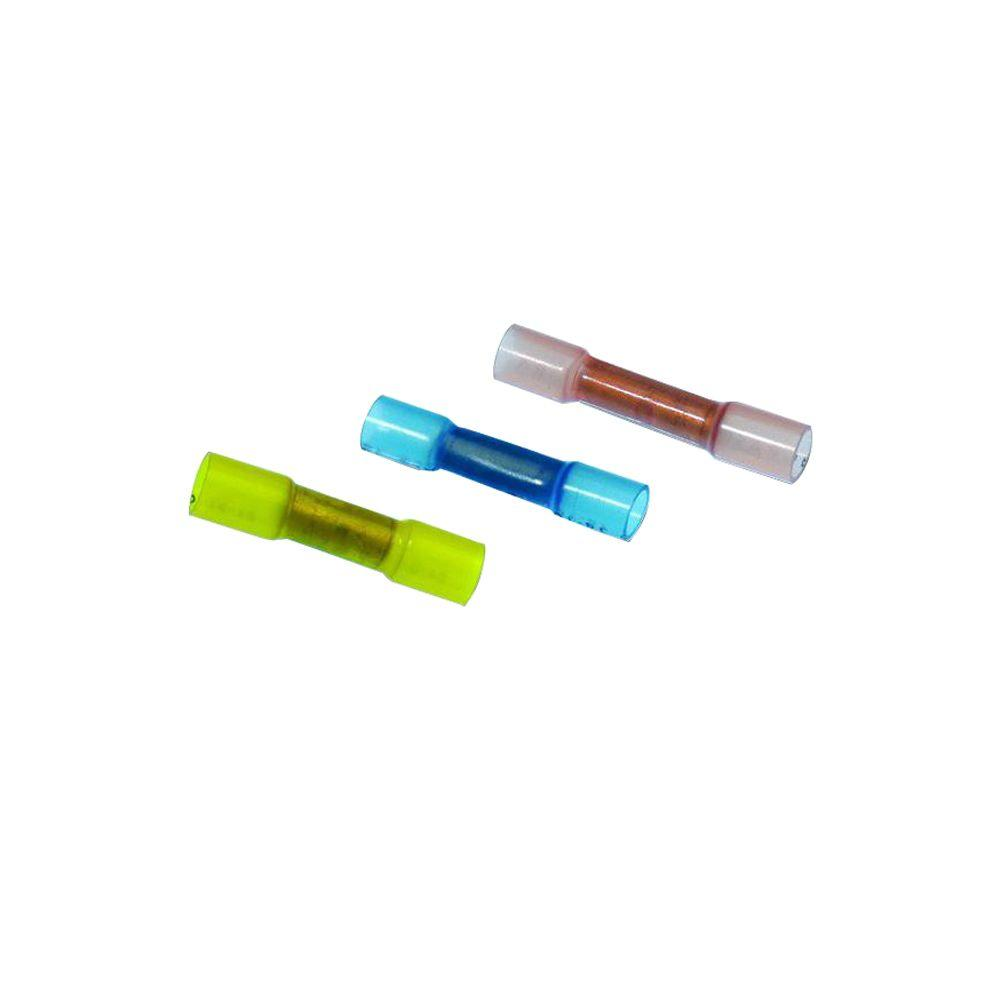 medium resolution of 22 10 awg heat shrink butt splice assorted kit red blue yellow 24 pack