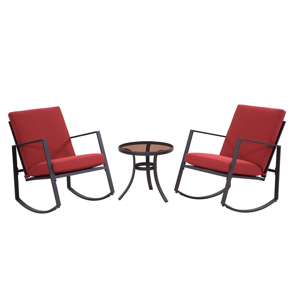 Outdoor Rocking Chair Set Liberty Garden Aurora 3 Piece Metal Outdoor Rocking Chair Set With Red Cushions