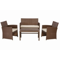 Where To Buy Wicker Chairs Toddler Soft Park Trail Brown 4 Piece Patio Conversation Set With Light Cushions