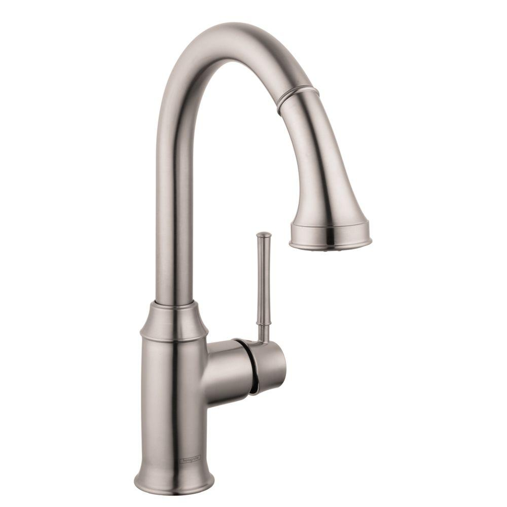 hansgrohe talis c kitchen faucet home depot kohler sinks single handle pull down sprayer with magnetic spray head docking in steel optik