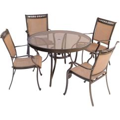 Best Outdoor Dining Chairs Adirondack Chair Template Hanover Fontana 5 Piece Aluminum Round Set With Glass Top Table