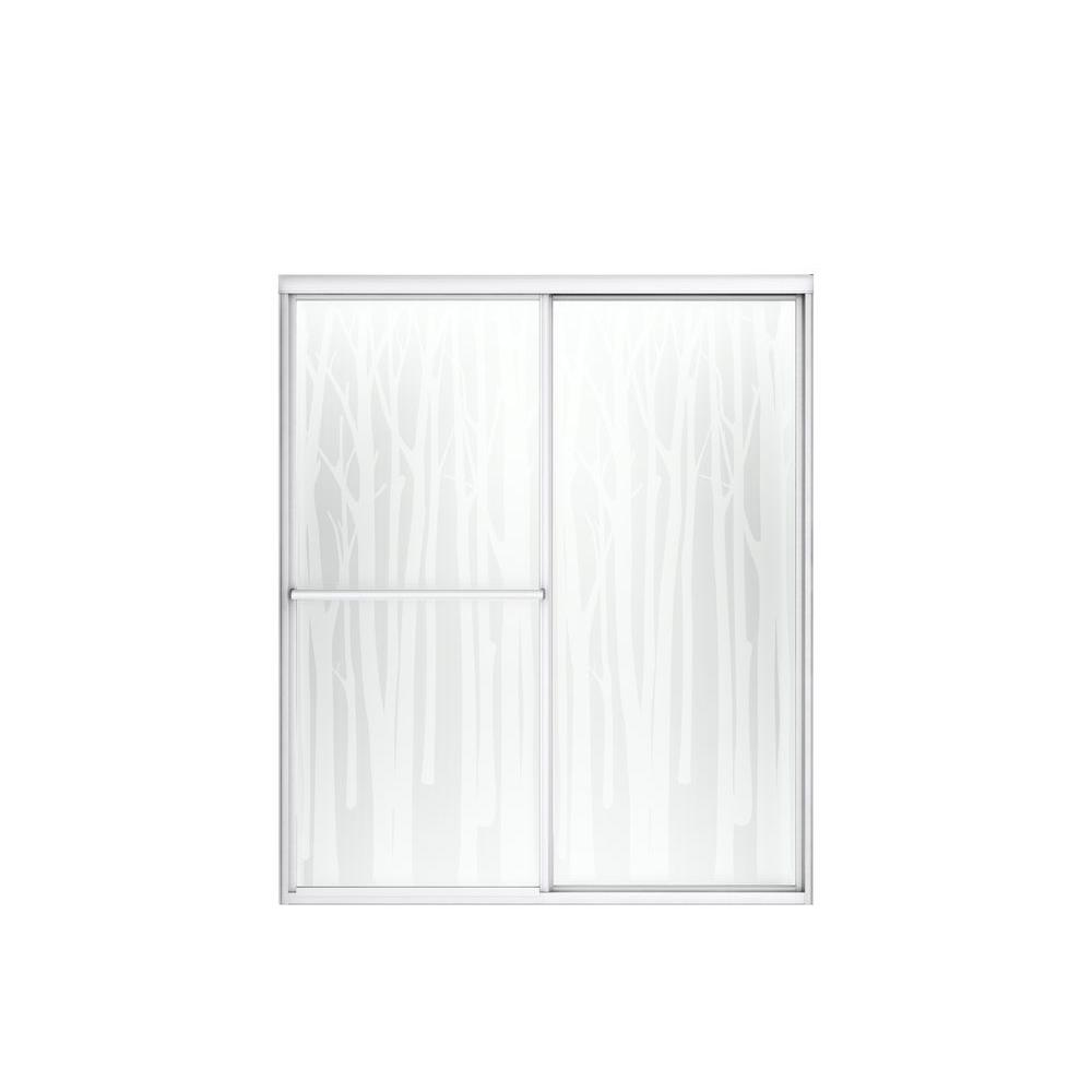 STERLING Deluxe 5938 in x 70 in Framed Sliding Shower Door in Silver with Handle597559S