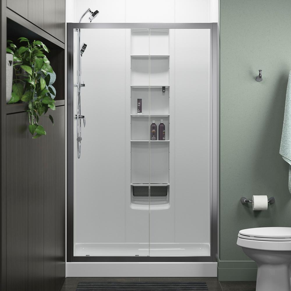 STERLING Whiston 48 in x 74875 in Frameless Sliding Shower Door in Silver with Handle572106