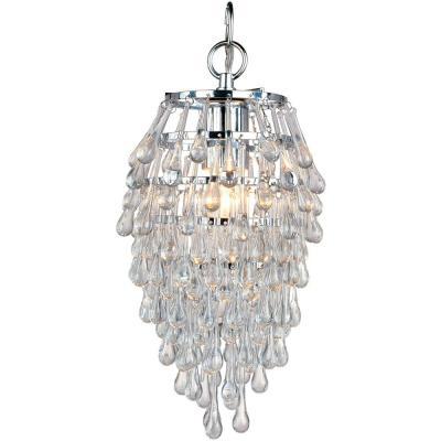 Crystal Teardrop 1 Light Chrome Mini Chandelier With Clear Drop Glass Beads