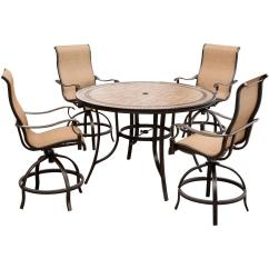 Table With Swivel Chairs Stressless Chair Squeaks Hanover Monaco 5 Piece Aluminum Outdoor High Dining Set Round Tile Top And Contoured Sling