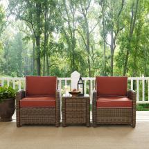 Crosley Bradenton 3-piece Wicker Outdoor Conversation Set