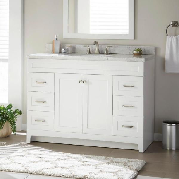 Home Decorators Collection Thornbriar 48 In W X 21 In D Bathroom Vanity Cabinet In Polar White Tb4821 Wh The Home Depot