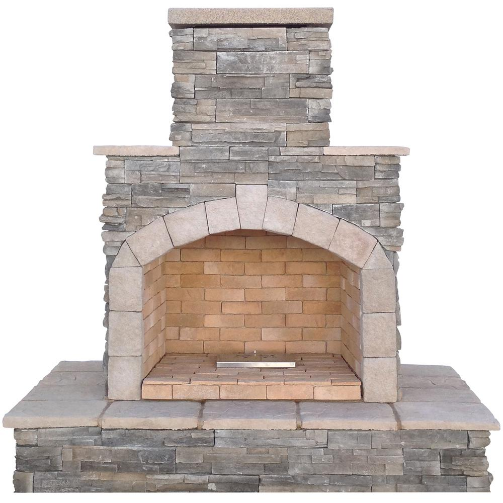Cal Flame 78 in Gray Natural Stone Propane Gas Outdoor FireplaceFRP9083NA  The Home Depot