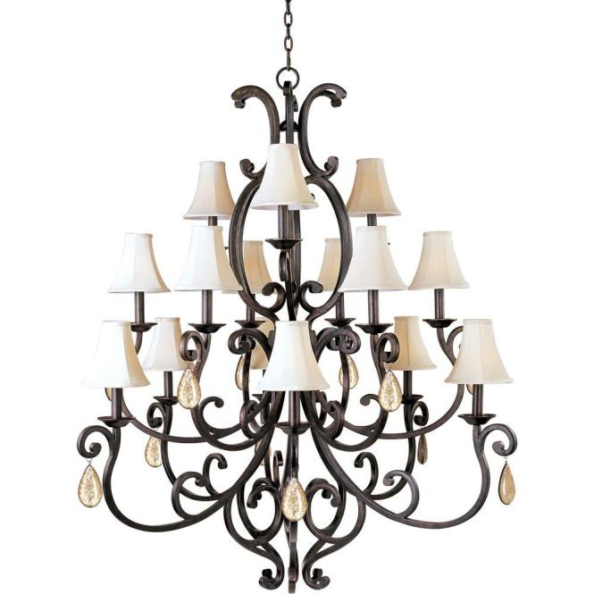 Maxim Lighting Richmond 15 Light Colonial Umber Multi Tier Chandelier With Shades And Crystal