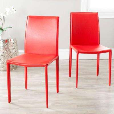 red kitchen chairs white tile dining room furniture the home depot karna bonded leather chair