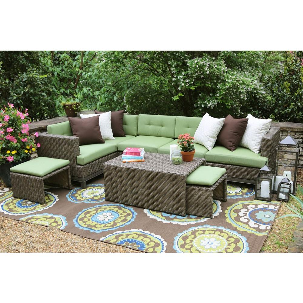 sunbrella fabric sectional sofas dark grey leather chesterfield sofa ae outdoor hampton 8 piece all weather wicker patio with