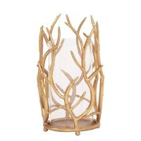 Gold Branches Hurricane Candle Holder Small-11245 - The ...
