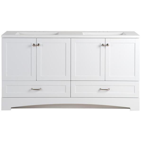 Glacier Bay Lancaster 60 In W Bathroom Vanity In White With Cultured Marble Vanity Top In White With White Sink Lc60p2com Wh The Home Depot
