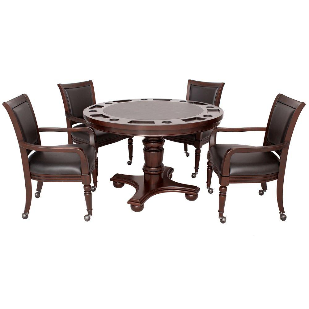 chair games for seniors pink bedroom hathaway bridgeport 2 in 1 poker game table set walnut finish