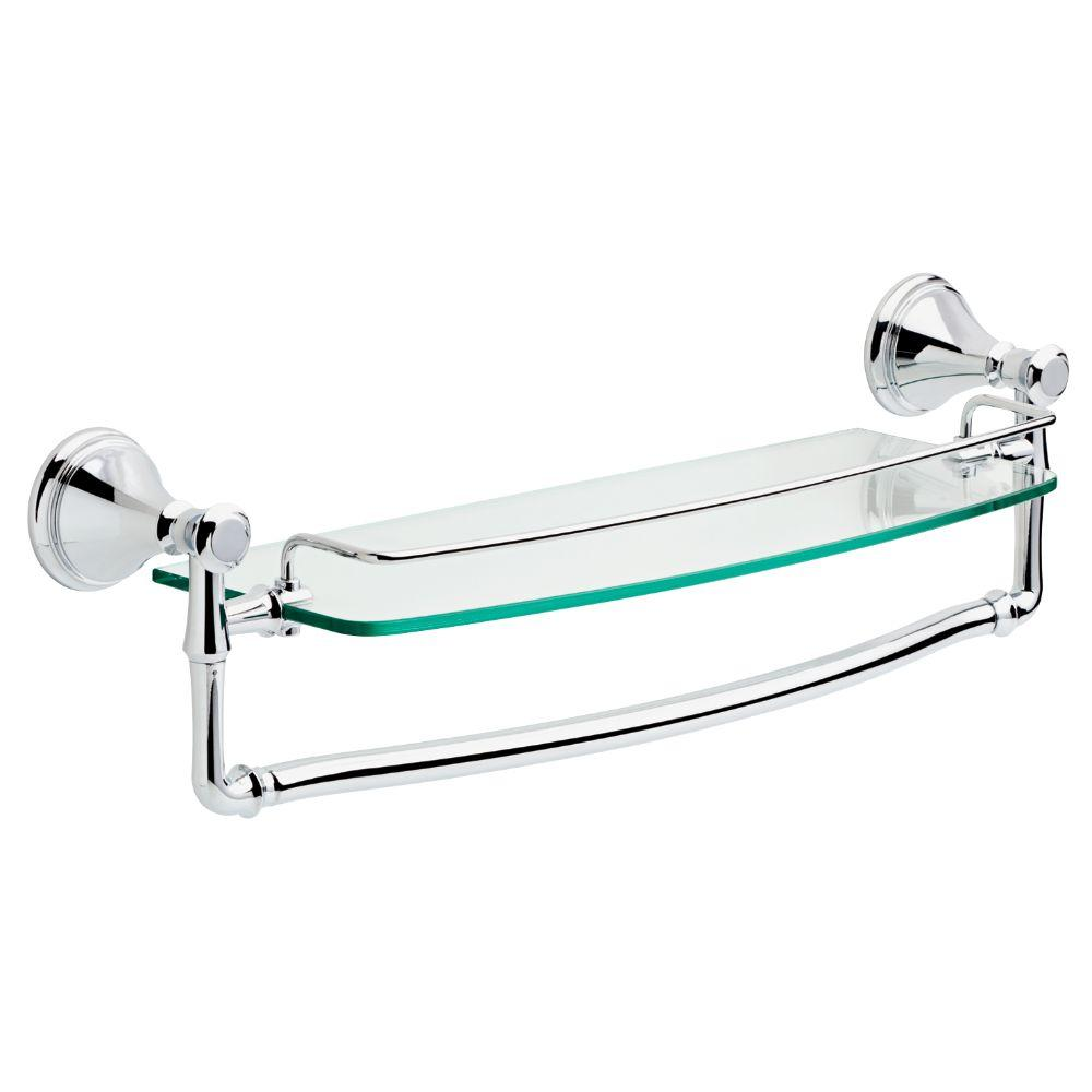 delta cassidy 18 in. glass bathroom shelf with towel bar in chrome