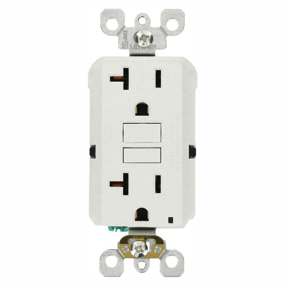 medium resolution of leviton 20 amp self test smartlockpro slim duplex gfci outlet white ground fault receptacle wiring single pole switch and a a