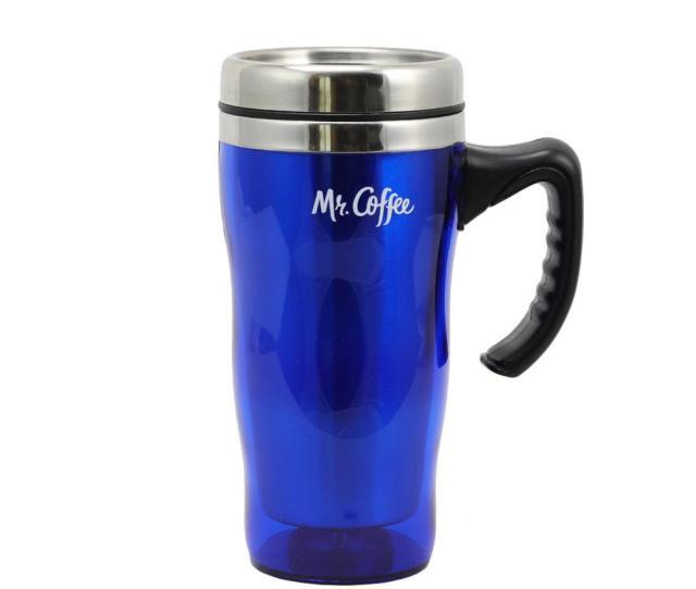 Mr Coffee Morning Fix  Oz Blue Stainless Steel Travel Mug