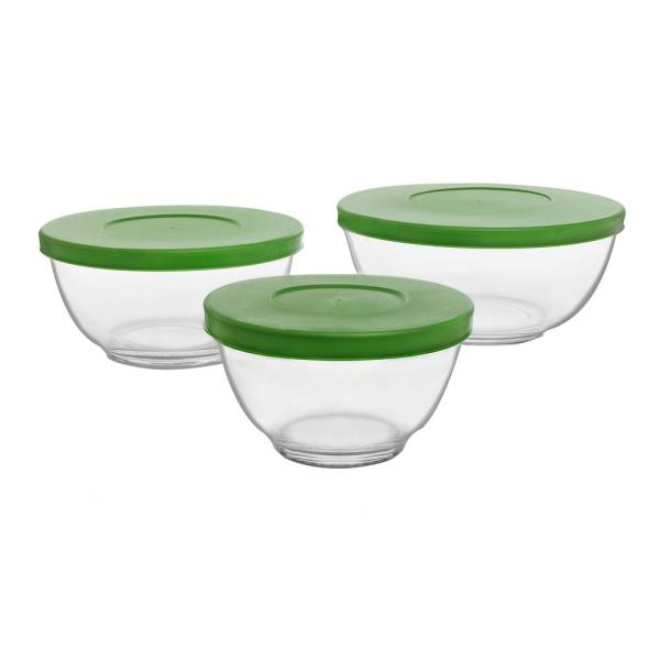 Libbey Baker' Basics Clear Glass Mixing Bowl With Lid Set Of 3 -57017 - Home Depot