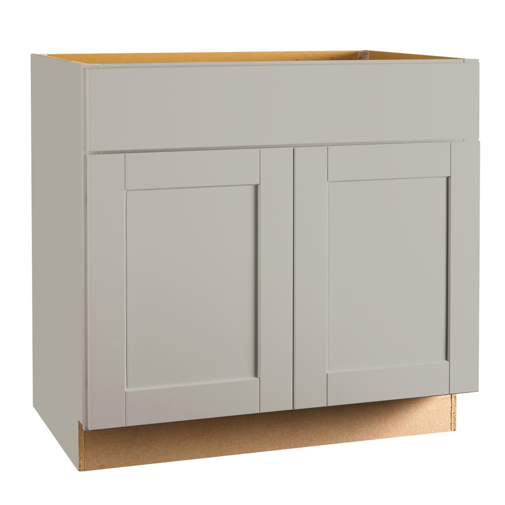 base kitchen cabinets storage solutions hampton bay shaker assembled 36x34 5x24 in sink cabinet dove gray
