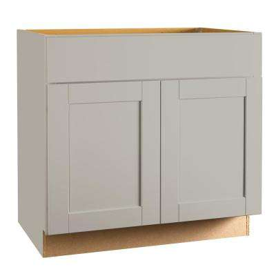 kitchen base cabinet island chairs for cabinets the home depot shaker assembled 36x34 5x24 in sink dove gray