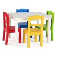 Tot Tutors Summit 5-Piece White/Primary Kids Table and ...
