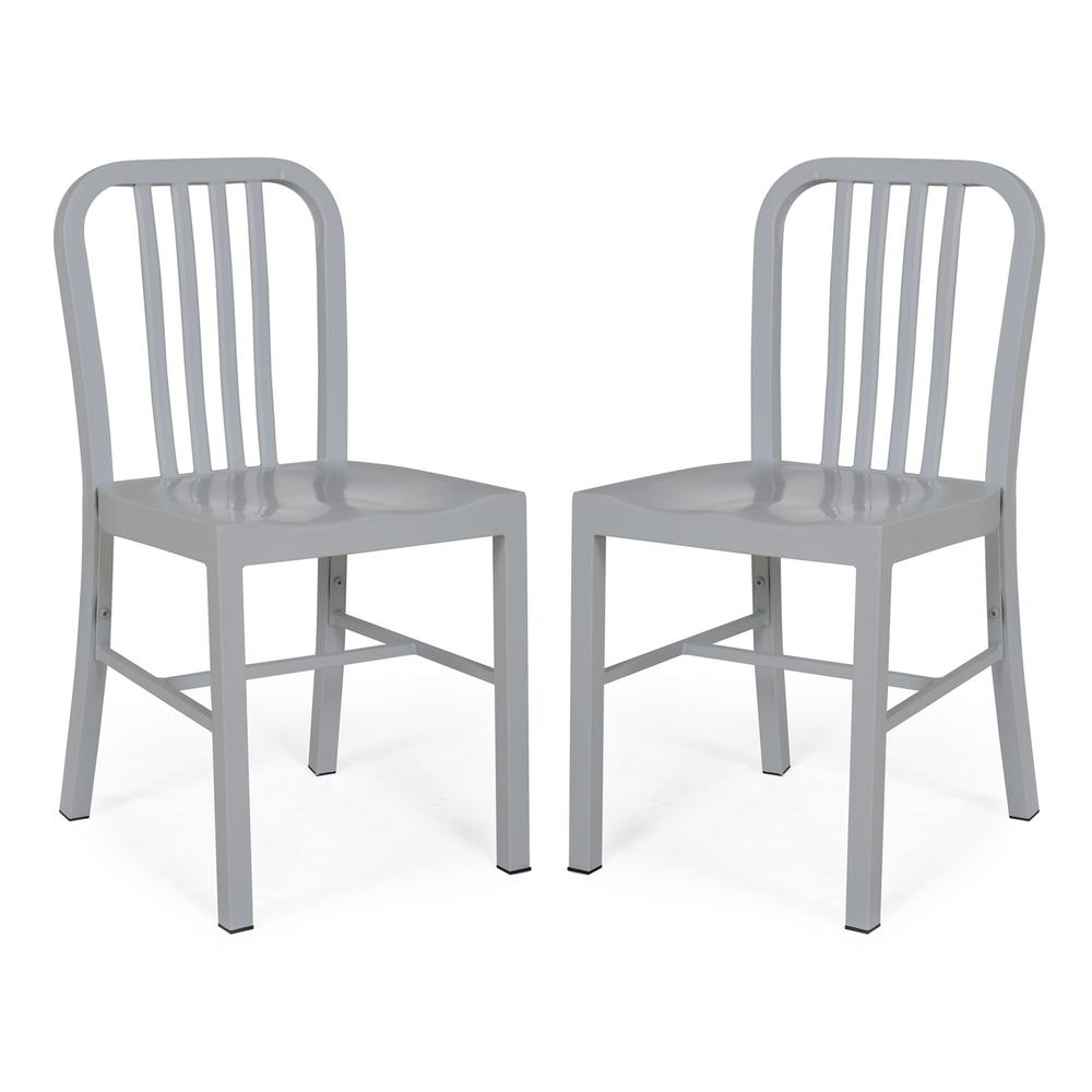rustic metal dining chairs personalized christmas chair covers poly and bark westford grey side hd 341 gry x2 the home depot