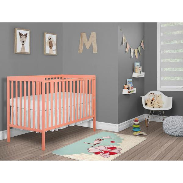 Coral Pink Solid Pine Wood 5-in-1 Convertible Crib Toddler