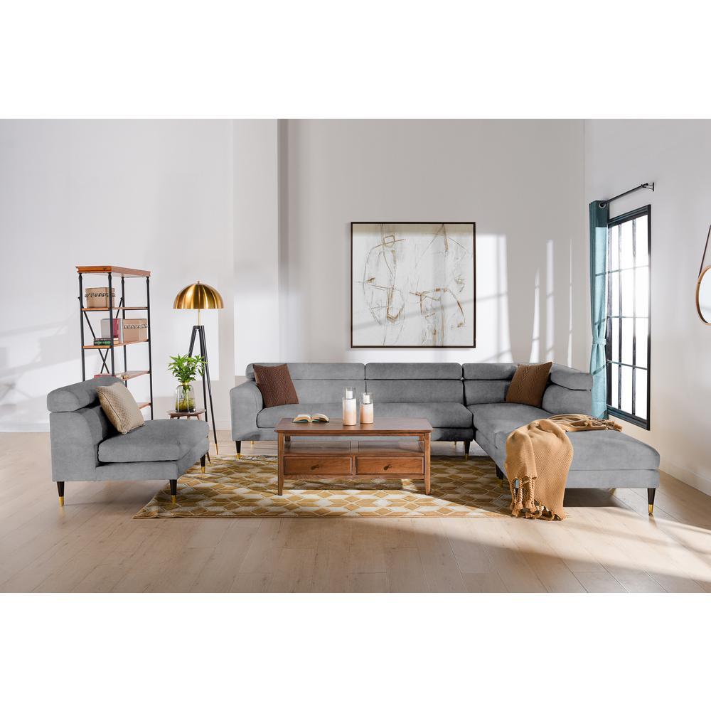 jennifer taylor bartelt 4 piece platinum gray velvet u shaped right facing modular sectional sofa with ottoman s66120 r v031 the home depot