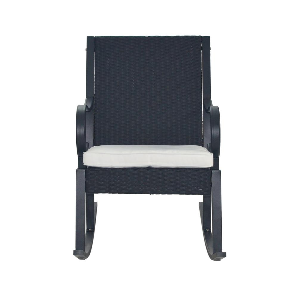 Black Wicker Rocking Chairs Noble House Harmony Black Wicker Outdoor Rocking Chair With White Cushion