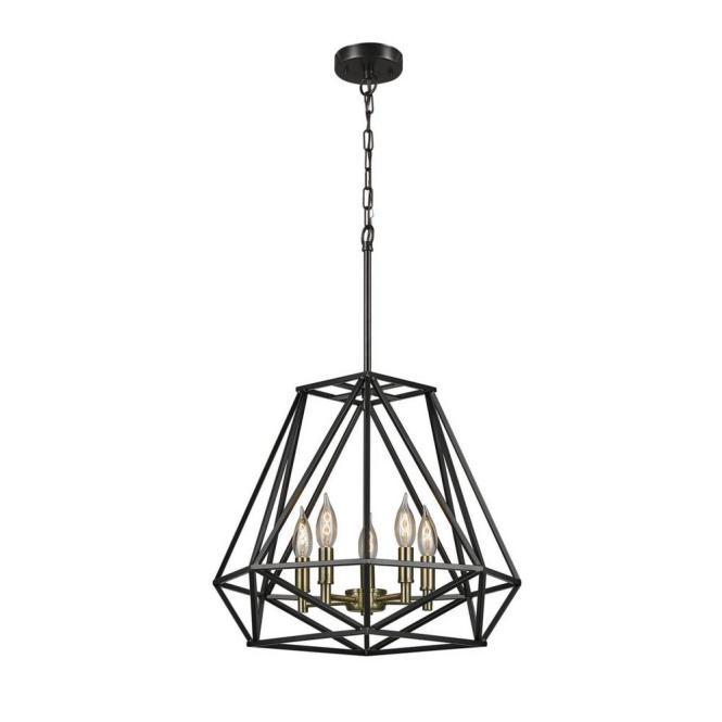 Globe Electric Sansa 5 Light Dark Bronze Chandelier 65435 The Home Depot
