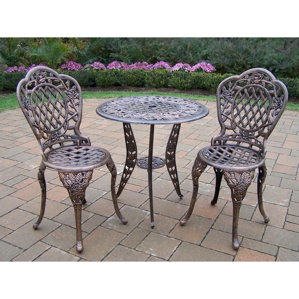 Metal Bistro Table And Chairs Oakland Living Tea Rose 3 Piece Patio Bistro Set