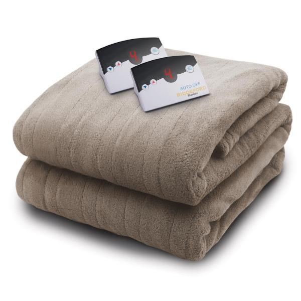 Biddeford Blankets 2034 Series Micro Plush Heated 100 In. X 90 Taupe King Size Blanket-2034