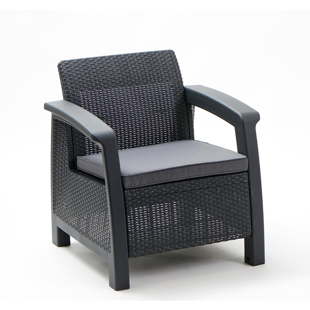resin patio lounge chairs red leather barrel chair keter bahamas gary all weather wicker with gray cushion