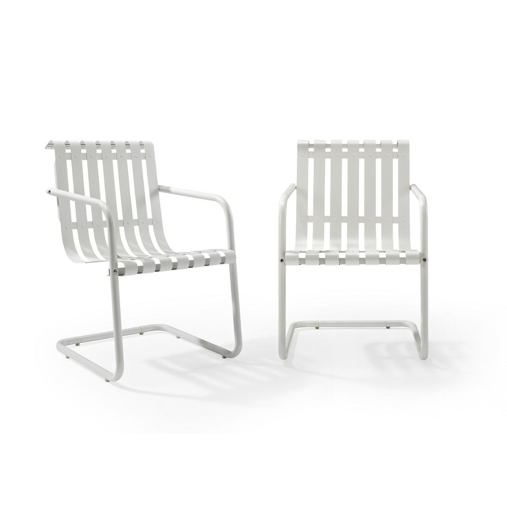 2 Person Lounge Chair Crosley Gracie White Metal Outdoor Chair Set Of 2