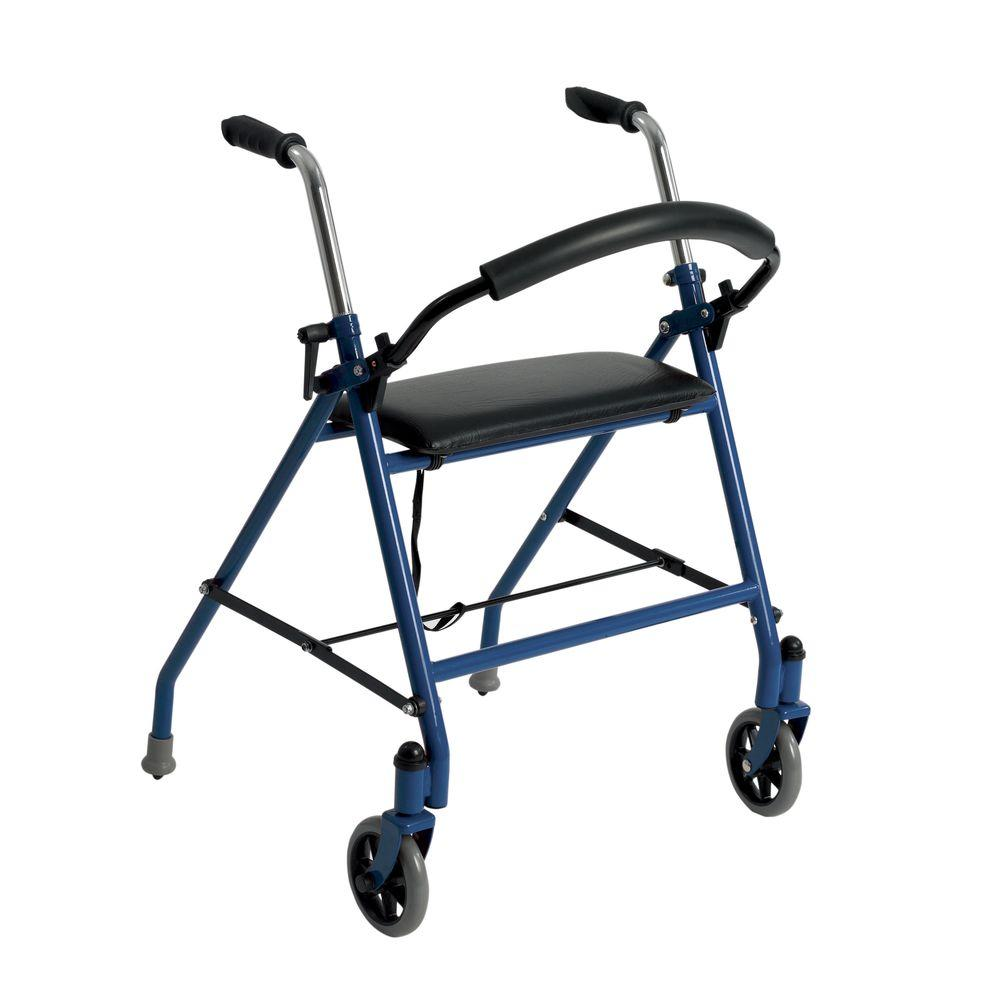 Drive Medical 1239bl Two Wheeled Button Folding Walker