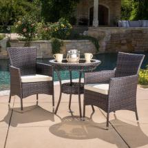 Noble House Multi-brown 3-piece Wicker Outdoor