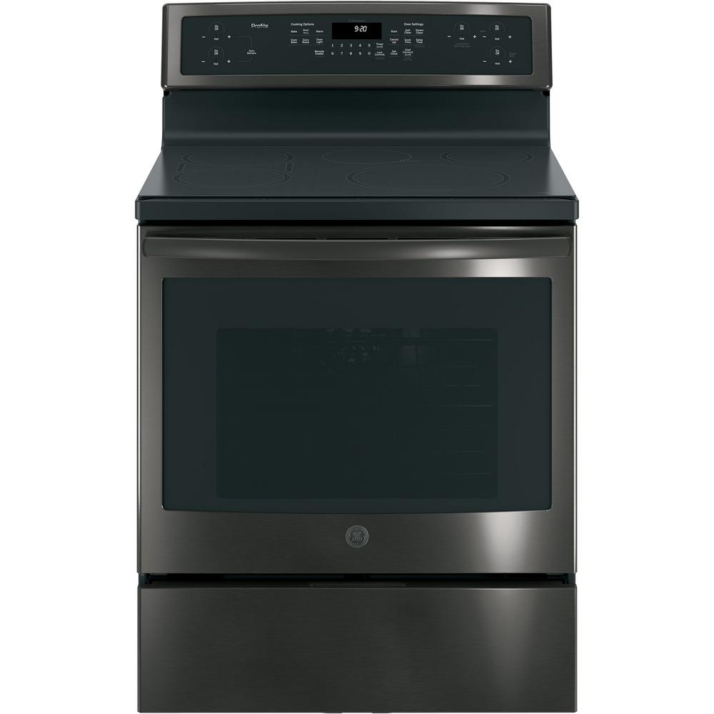 hight resolution of free standing convection range with induction in black stainless