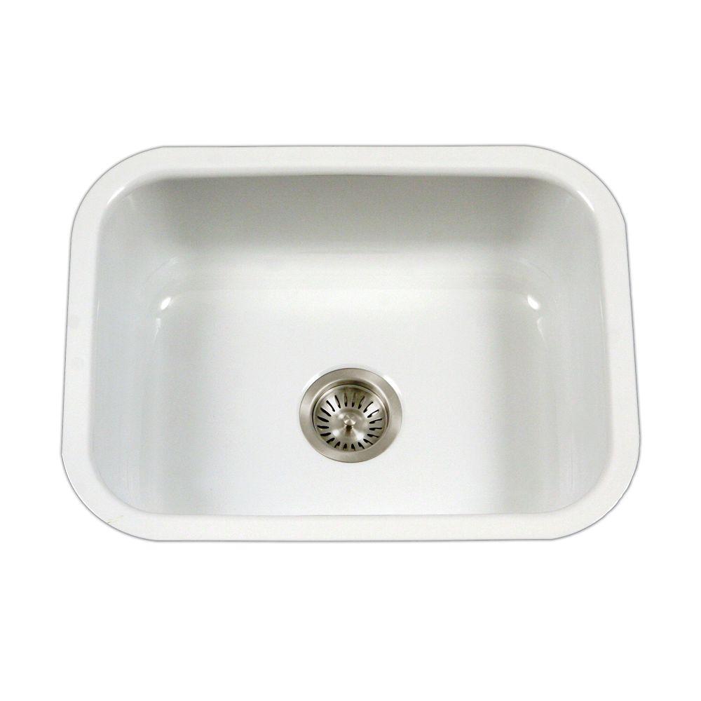 white porcelain kitchen sink cheap carts sale houzer porcela series undermount enamel steel 23 in single bowl