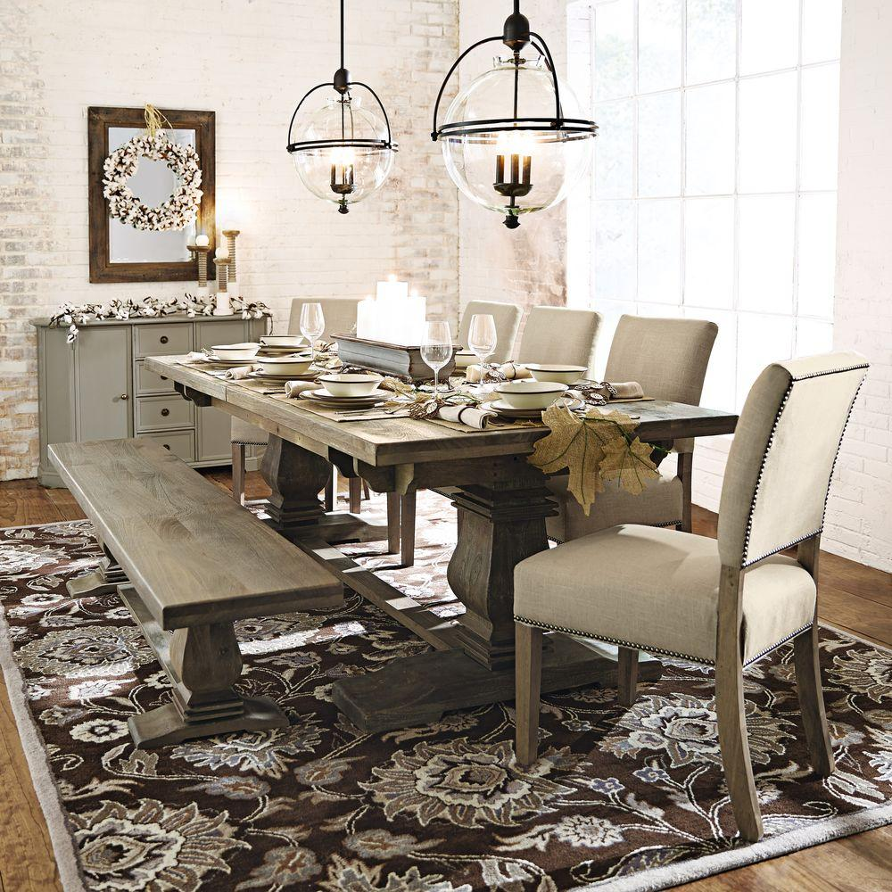 Home Decorators Collection Aldridge Antique Grey Wood Dining Bench2838500270  The Home Depot