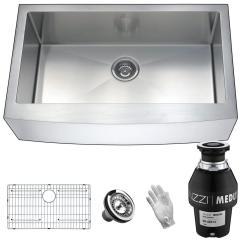 Kitchen Sink Disposal Florida Design Ideas Anzzi Elysian Farmhouse Stainless Steel 36 In Single Bowl With Medusa Series 1 3 Hp Garbage