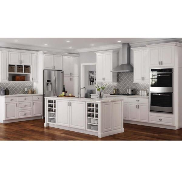Hampton Bay Hampton Assembled 18x90x24 In Pantry Kitchen Cabinet In Satin White Kp1890 Sw The Home Depot