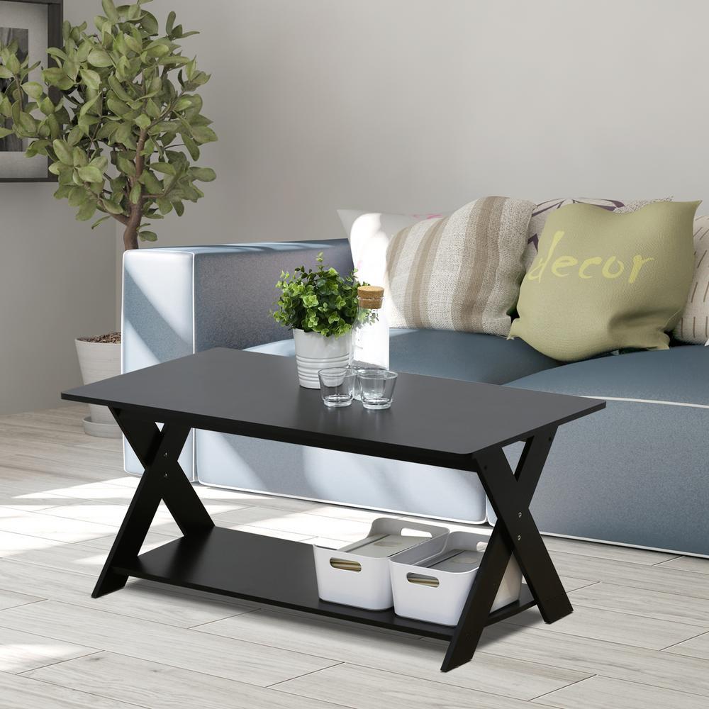 Furinno Modern Simplistic Espresso Criss Crossed Coffee Table 16049ex The Home Depot