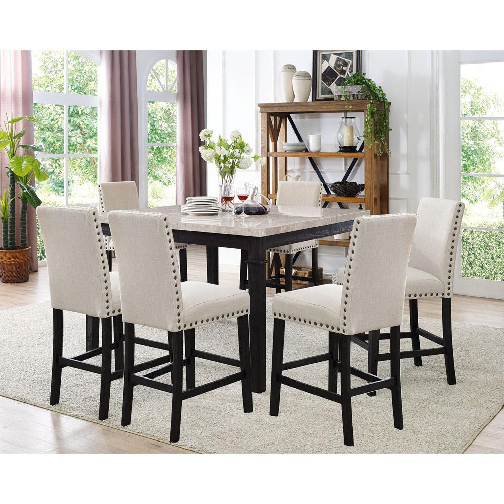 Dining Room Chair Sets Azul 7 Piece Espresso And Ivory Dining Set Marble Table And 6 Fabric Chairs