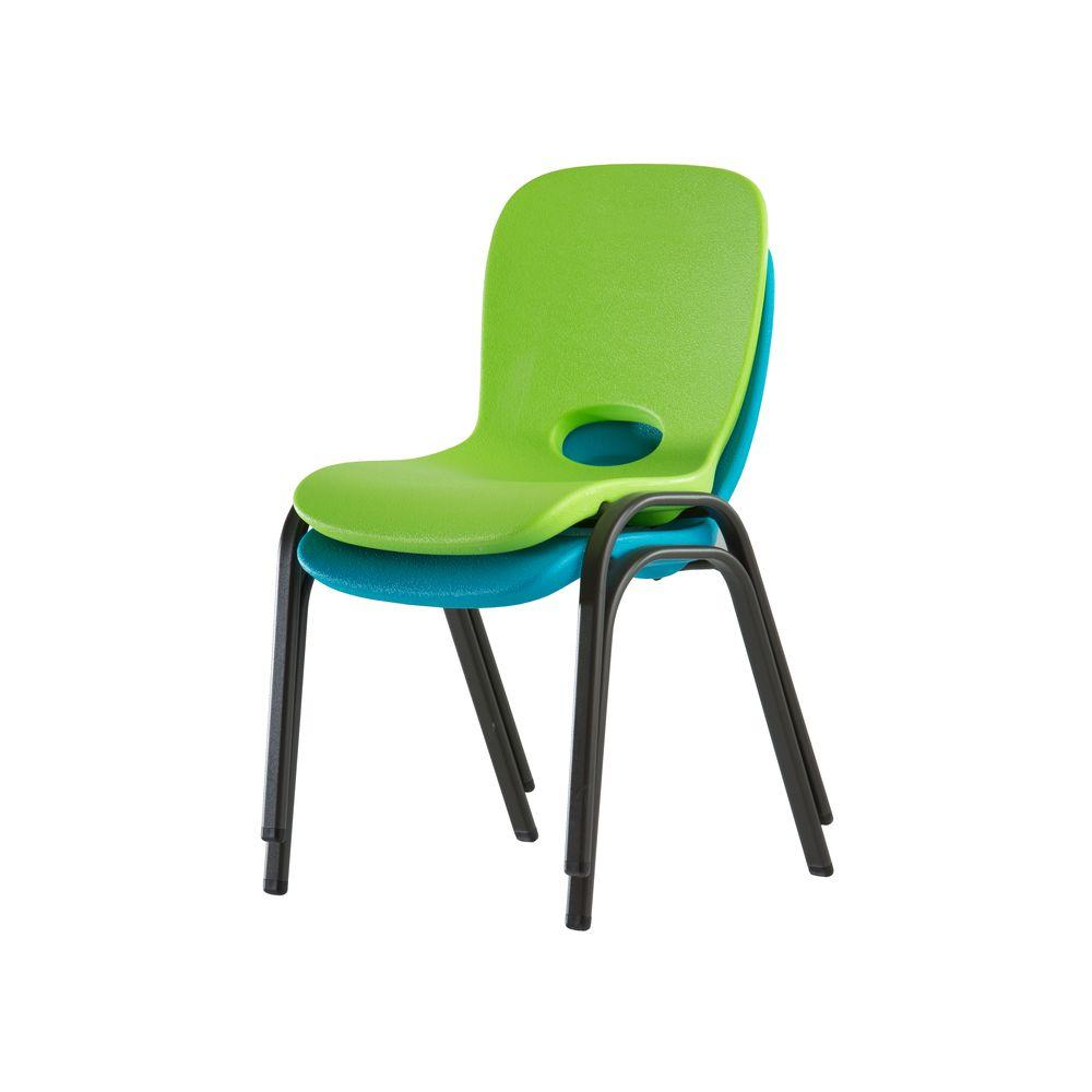 kids stackable chairs posture chair modern lifetime lime green stacking set of 4 80473 the home