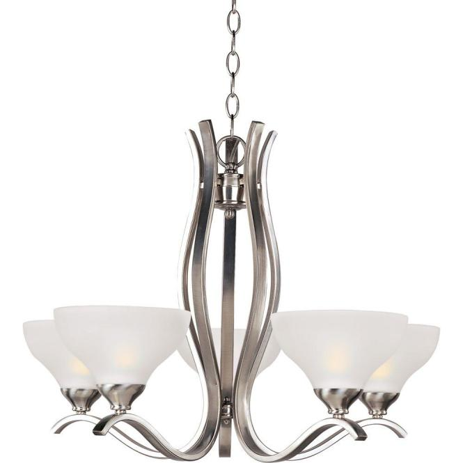 Maxim Lighting Contour 5 Light Satin Nickel Chandelier 21265ftsn The Home Depot