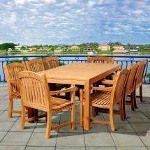 Sorum 9-piece Teak Rectangular Patio Dining Set
