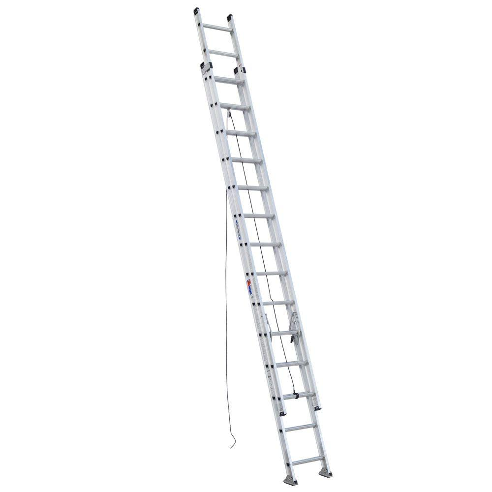 Werner 28 Ft Aluminum D Rung Extension Ladder With 300 Lb