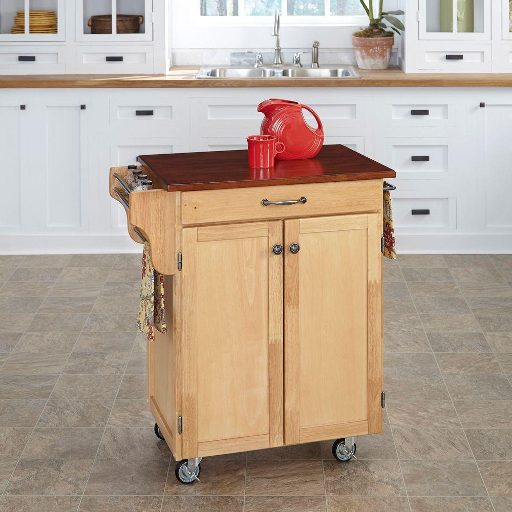 home styles kitchen cart bar lights cuisine natural with oak top 9001